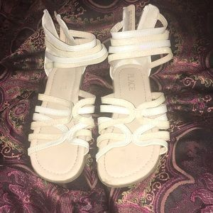 Girl's Gladiator Glitter Sandals in White & Cream